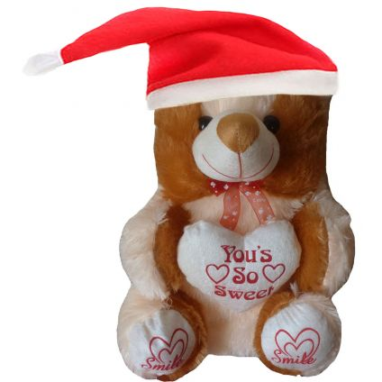 Teddy Bear with Christmas Cap