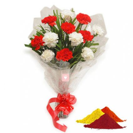 Red and White carnations with Gulal