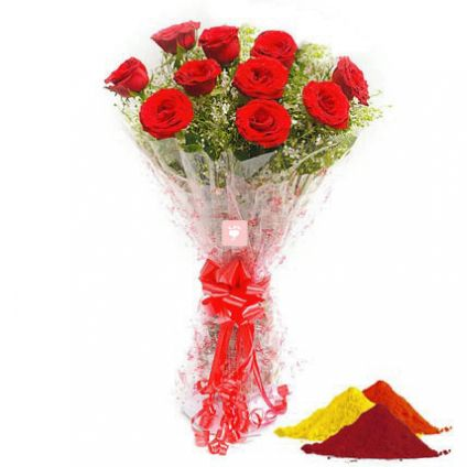 Red Roses with Gulal