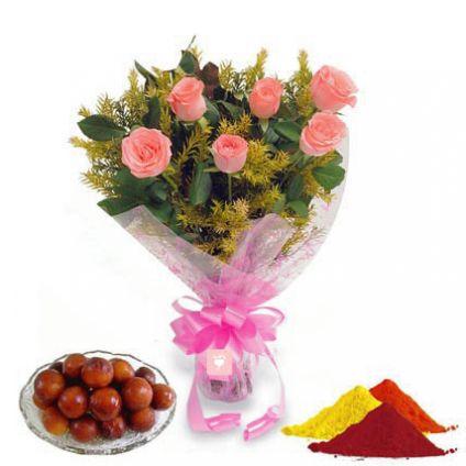 Pink Roses, Gulab Jamun with Gulal