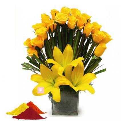 Yellow Roses, Yellow lilies with vase and Gulal
