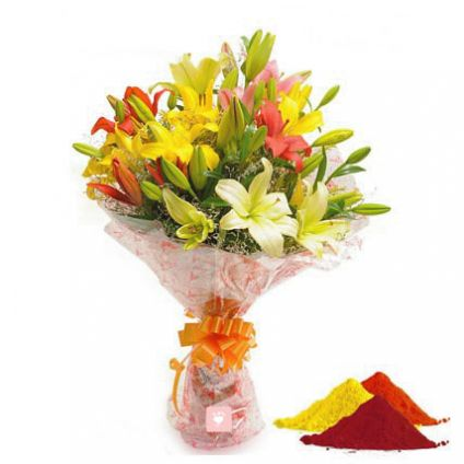 Mixed lilies with Gulal