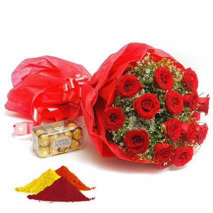 Red Roses, ferrero Rocher with Gulal