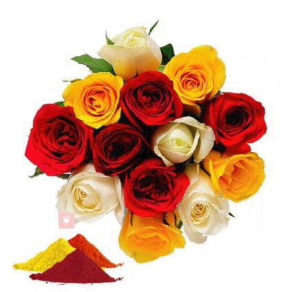 Mixed Roses with Gulal