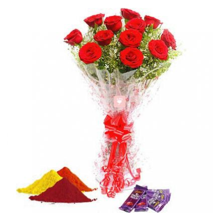 Red roses, Dairy milk chocolates with Gulal