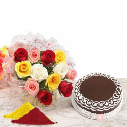 Mixed roses, Chocolate Cake with Gulal