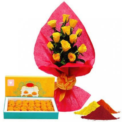 Yellow Roses with Motichur Laddu
