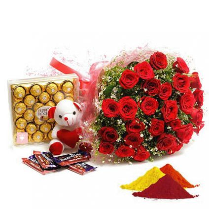 Red Roses, Ferrero Rocher,Teddy Bear,fruit n nut chocolates With Gulal