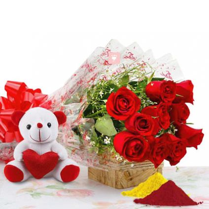 Red Roses, Teddy Bear with Gulal