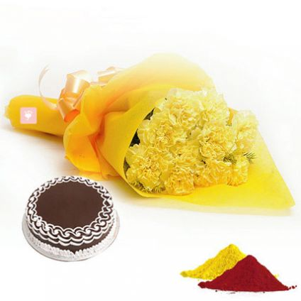 Yellow Carnation, Chocolate Cake With Gulal