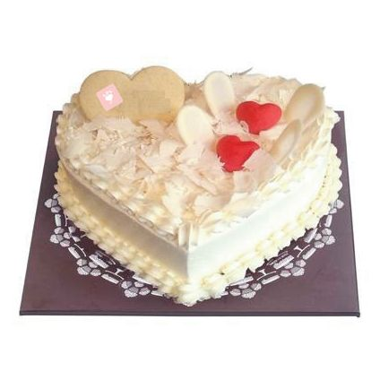 White Forest Heart Cake