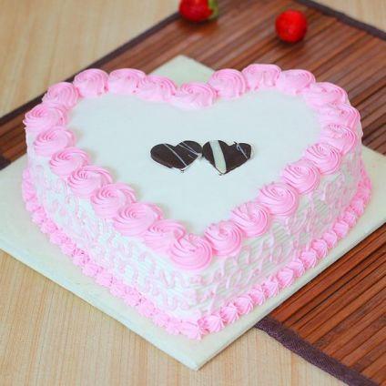Heart Shaped strawberry Cake