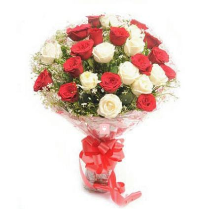 Bunch of 20 Red and white Roses