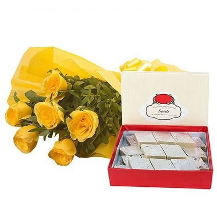 Bunch of 10 Yellow Roses with 1/2  Kg Kaju Katli
