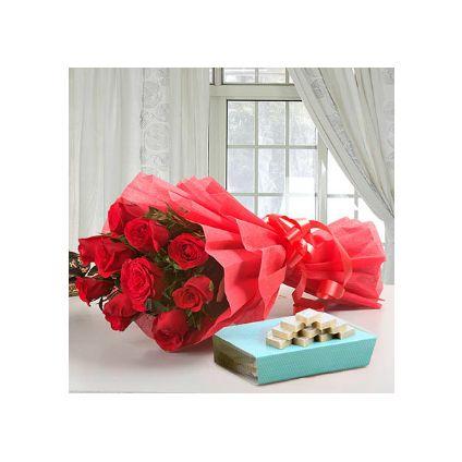 Bunch of 10 Red Roses and 1/2 Kg kaju Katli