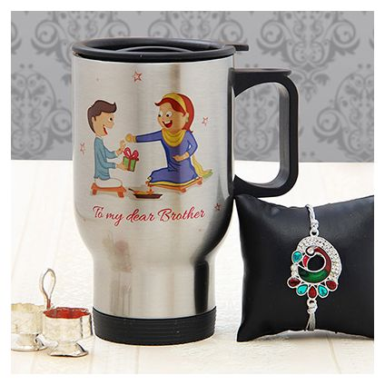 Personalized Steel Car Mug with Peacock Design Rakhi