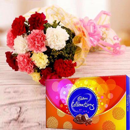Mixed carnation and cadbury celebration