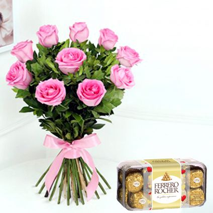 Pink roses and  ferrero rocher