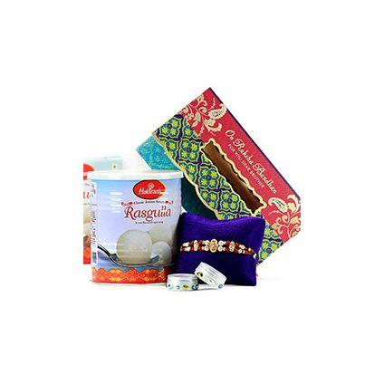 1 kg rasgulla pack, 1 beautiful rakhi