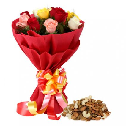 Bunch of 20 mixed roses and 1kg dry fruits