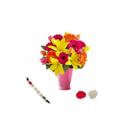 Mixed Flowers in Vase With Rakhi