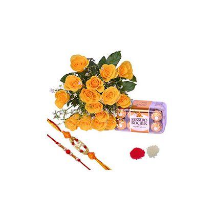 bunch of flowers,Ferrero Rocher Chocolates, Pearl Rakh