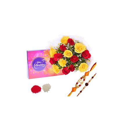 Bunch of 15 Red & Yellow Roses,Chocolates ,Pearl Rakhi