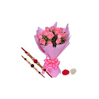 Bunch of 12 Pink Roses,Rudraksha Pearl Rakhi