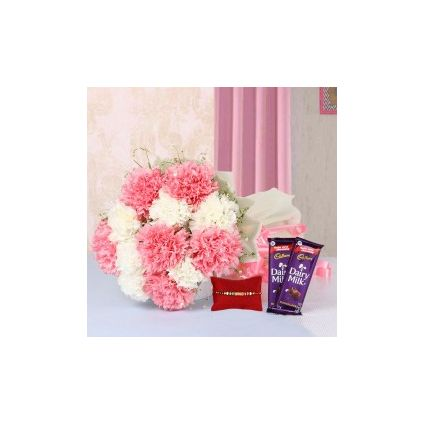 Pink and White Carnation with Rakhi