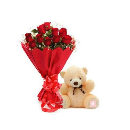 10 red roses and (6 inch) cream teddy bear