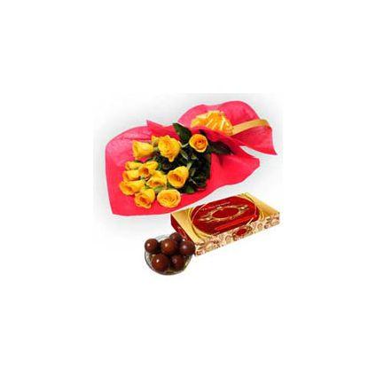 12 Yellow Roses,1kg Gulab Jamun