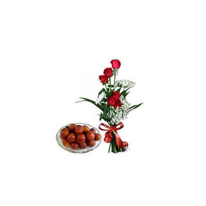 6 Red Roses,Gulab Jamun 1kg