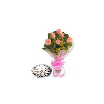 6 Pink Roses ,Ladoo 500gm
