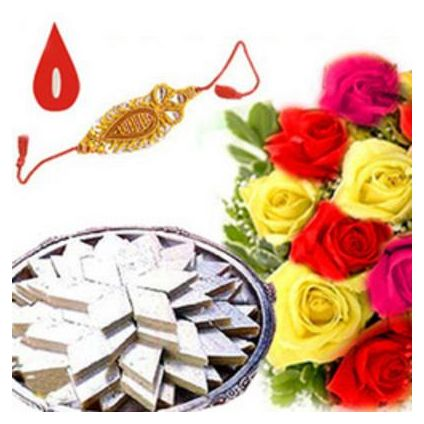 250gms Kaju Katli, Bunch 12 mixed colour roses With Free 1 Rakhi