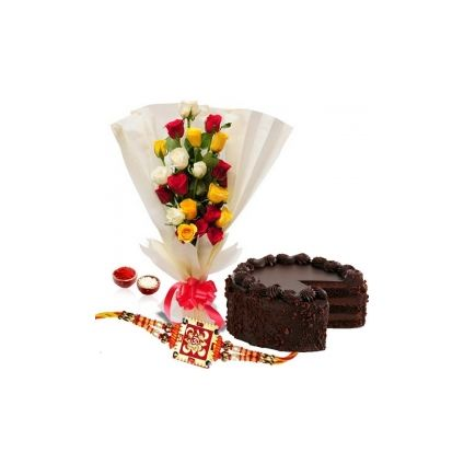 18 mix colourful roses,1/2 kg chocolate cake