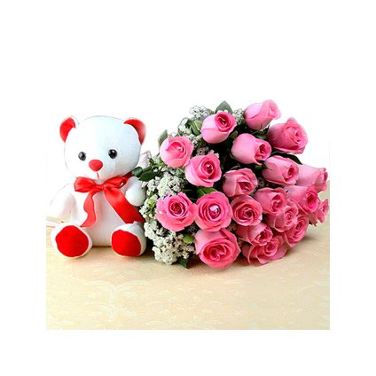 A basket of 20 pink roses and (6 inch) white teddy bear