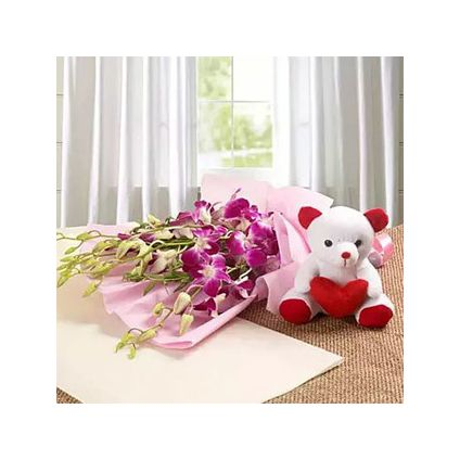 Purple Orchids With Teddy