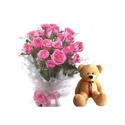 A bunch of 25 pink roses and (6 inch) brown teddy bear