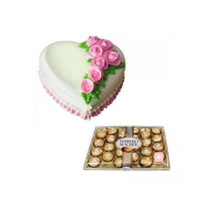 1kg vanilla cake and 24 pieces of ferrero rochers
