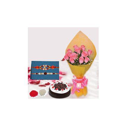12 pink roses,500gm cakes,Rakhi