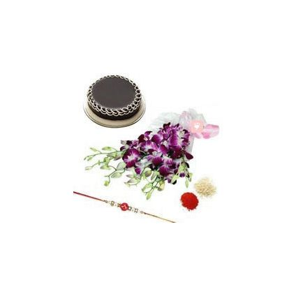 orchids flowers with 500gm chocolate cake & Rakh
