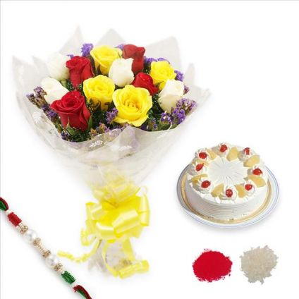 Pineapple Cake, Roses With Rakhi