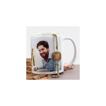 Personalized photo mug with Rakhi