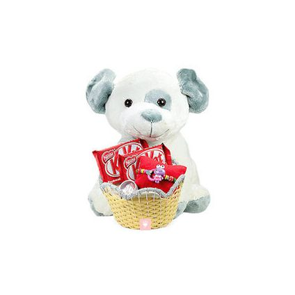 teddy bear, kit kat chocolates and designer rakhi