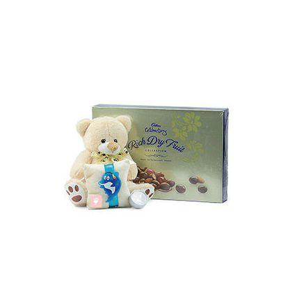 teddy bear,rich dry fruit,rakhi
