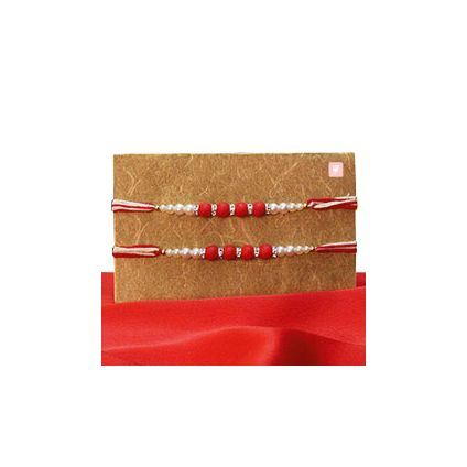 Red and White Beaded Pearl Rakhis