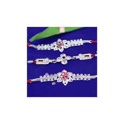 Set of 3 Intricate Stone Studded Silver Rakhis