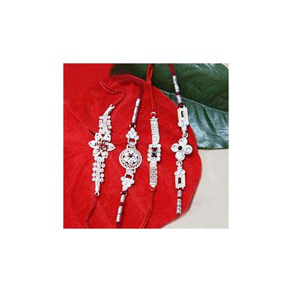 Set of 4 Rakhi having 1 Silver Swastika Rakhi