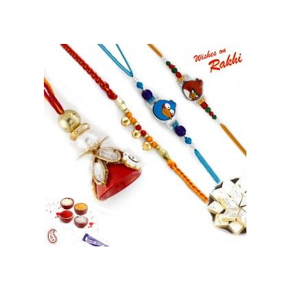 Set of 4 Rakhi including Angry Bird Kids Rakhi