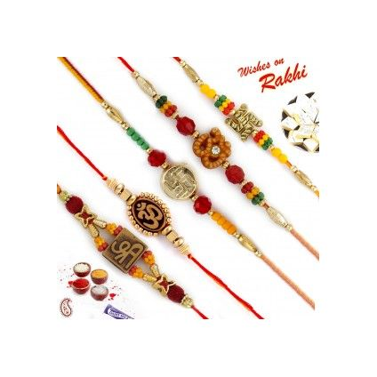 Set of 5 Elegant & Sober OM, Swastik & Shree Rakhi